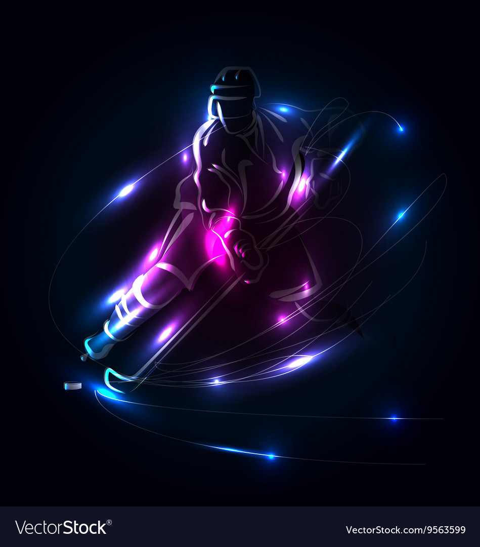 Abstract background with hockey player Royalty Vector 949x1080
