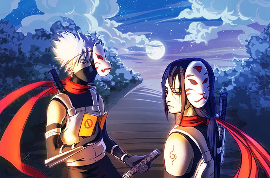 Anbu Hatake Kakashi Uchiha Itachi Mask Sword Anime HD Wallpaper 1024x675