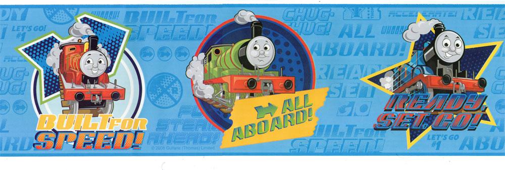 Thomas Train Blue Speed Pre pasted Wallpaper Border 1000x338