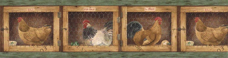Kitchen Country Hen Rooster Wallpaper Border AFR7136 eBay 770x199