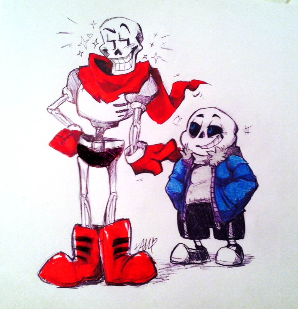INKTOBER Day 02- Papyrus and Sans by AdorkableMarina on DeviantArt