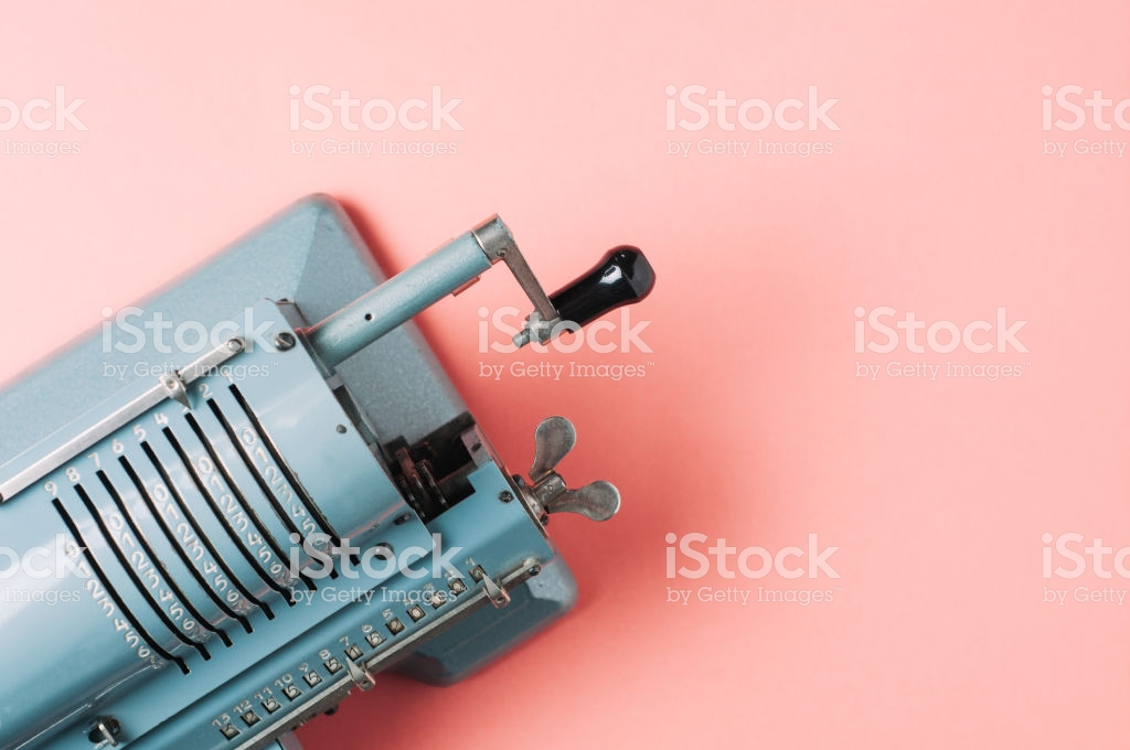 Old Counting Machine On Pink Background Stock Photo   Download 1024x680