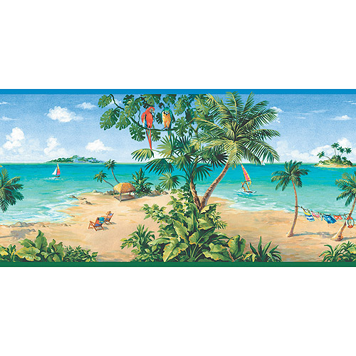 Blue Mountain Scenic Beach Wallpaper Border   Walmartcom 500x500