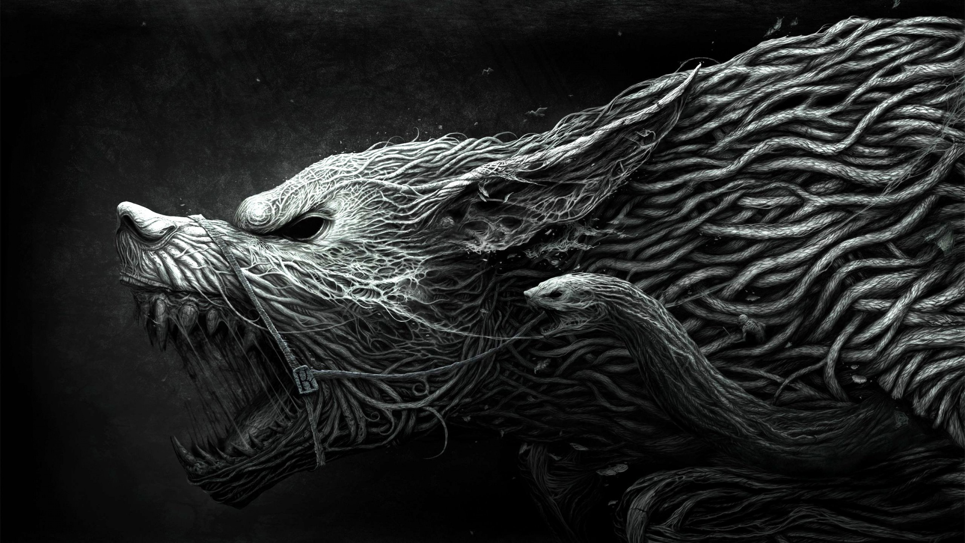 Hd wallpaper wolf - Drawing Aggression Black White Wallpaper Background Full Hd 1080p