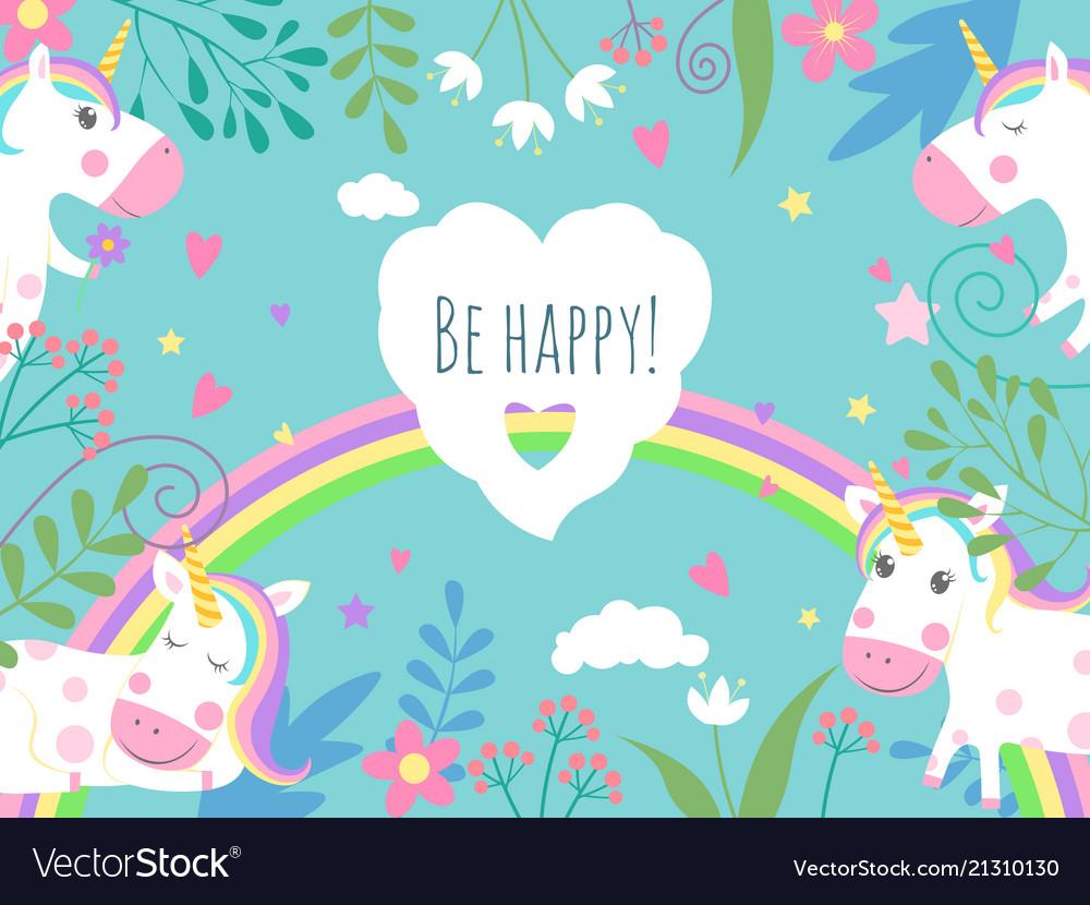 Fairytale background unicorns funny Royalty Vector 1000x830
