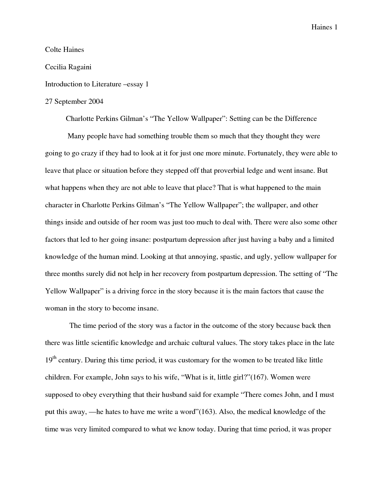 the yellow wallpaper essay examples  essays on the yellow wallpaper the yellow wallpaper essay examples