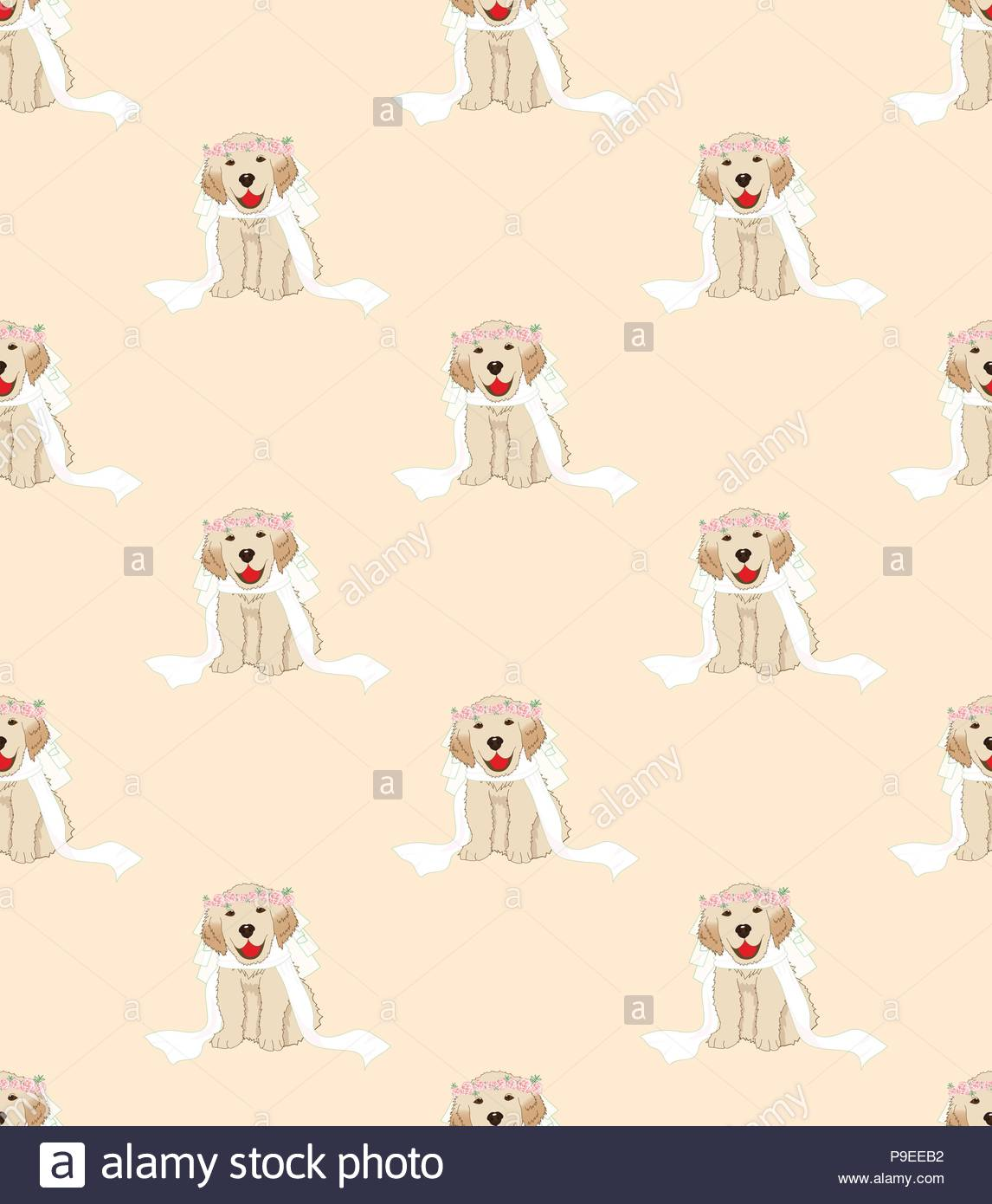 Puppy Golden Retriever Dog Bride on Beige Ivory Background Vector 1146x1390