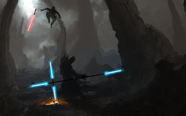Star Warsenergy star wars energy lightsabers duel sith jedi artwork 600x375