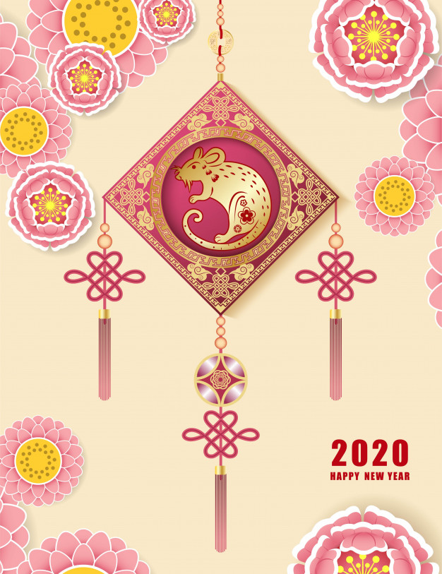 Happy chinese new year 2020 Vector Premium Download 626x813