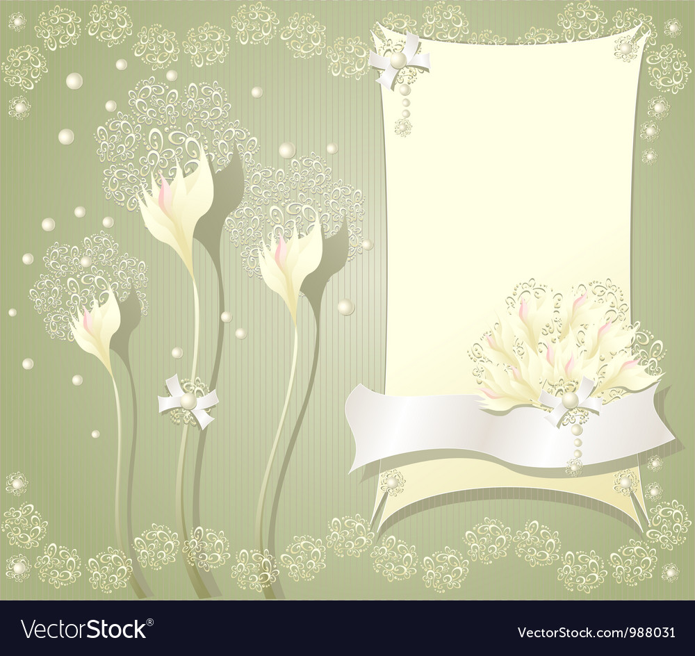 Elegant floral background with frame flowers bows Vector Image 1000x944