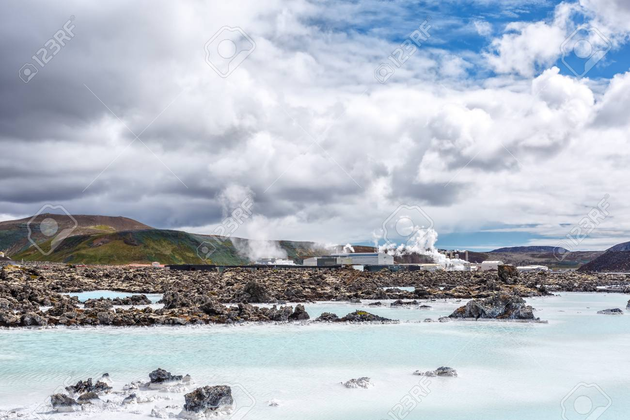 Mineral White Lake On A Background Of Geothermal Station Near 1300x866
