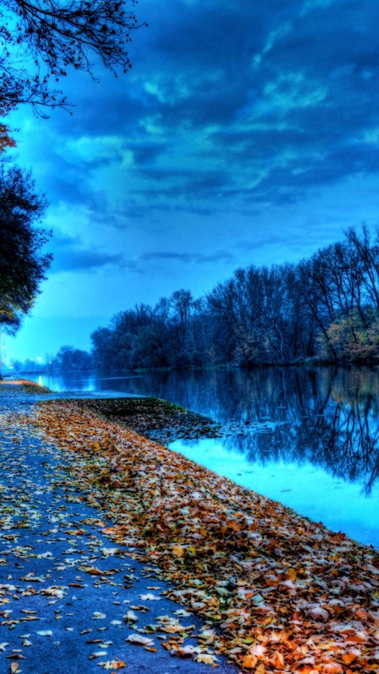 Autumn Lake Leaves iPhone 6 Wallpaper iPod Wallpaper HD 750x1334
