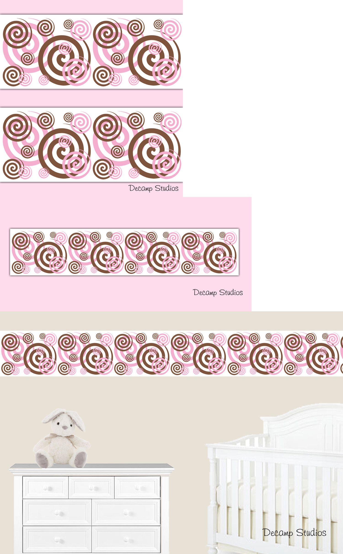 Wallpaper Borders 37636 Pink Brown Spiral Wallpaper Border Wall 1500x2424