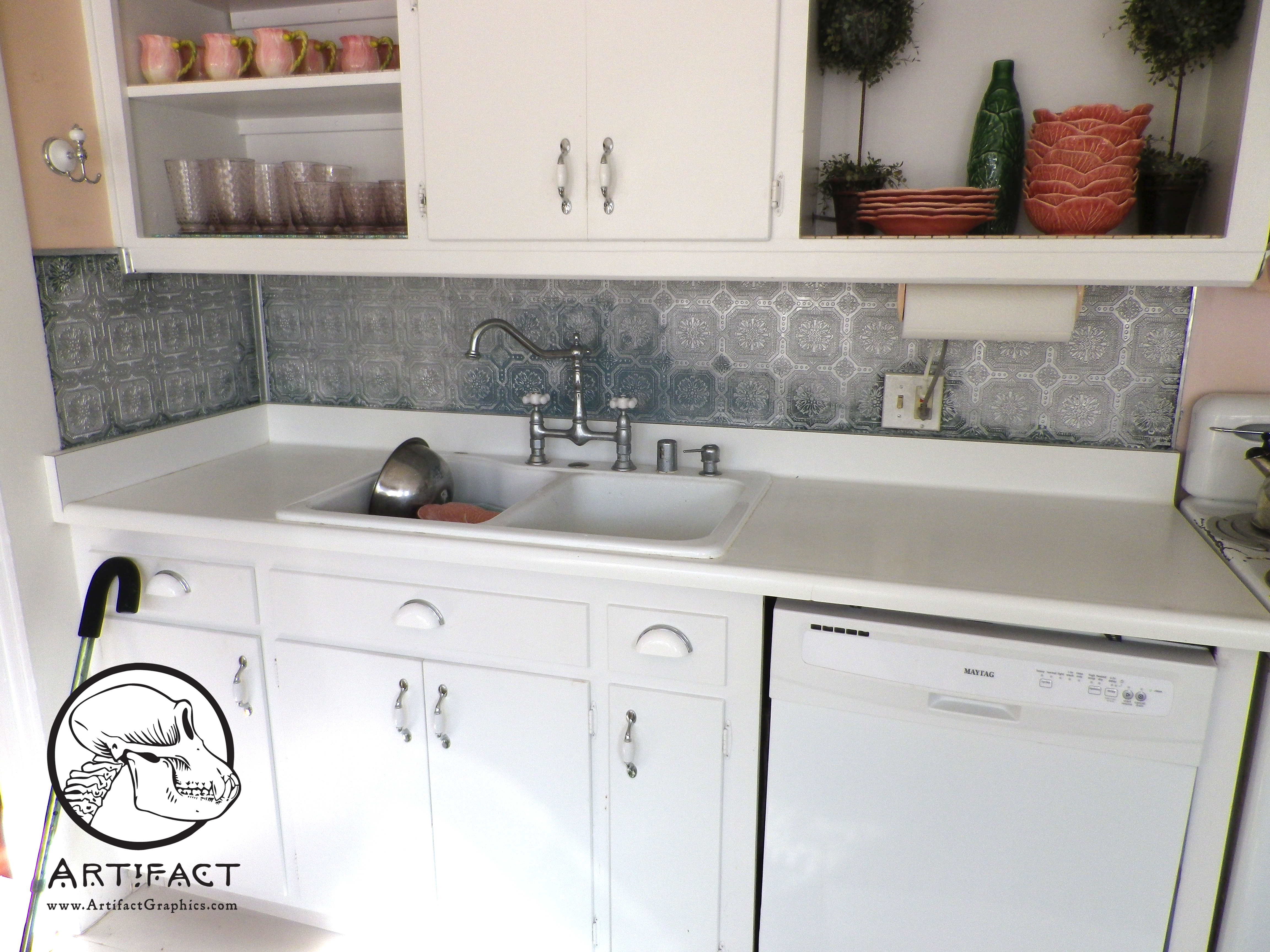 How To Paint A Faux Pressed Tin Tile Backsplash Artifact Graphics 4608x3456