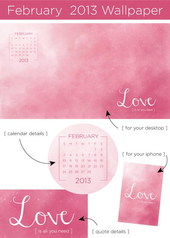 Creative Soul Spectrum February Desktop Calendar Wallpaper 576x805