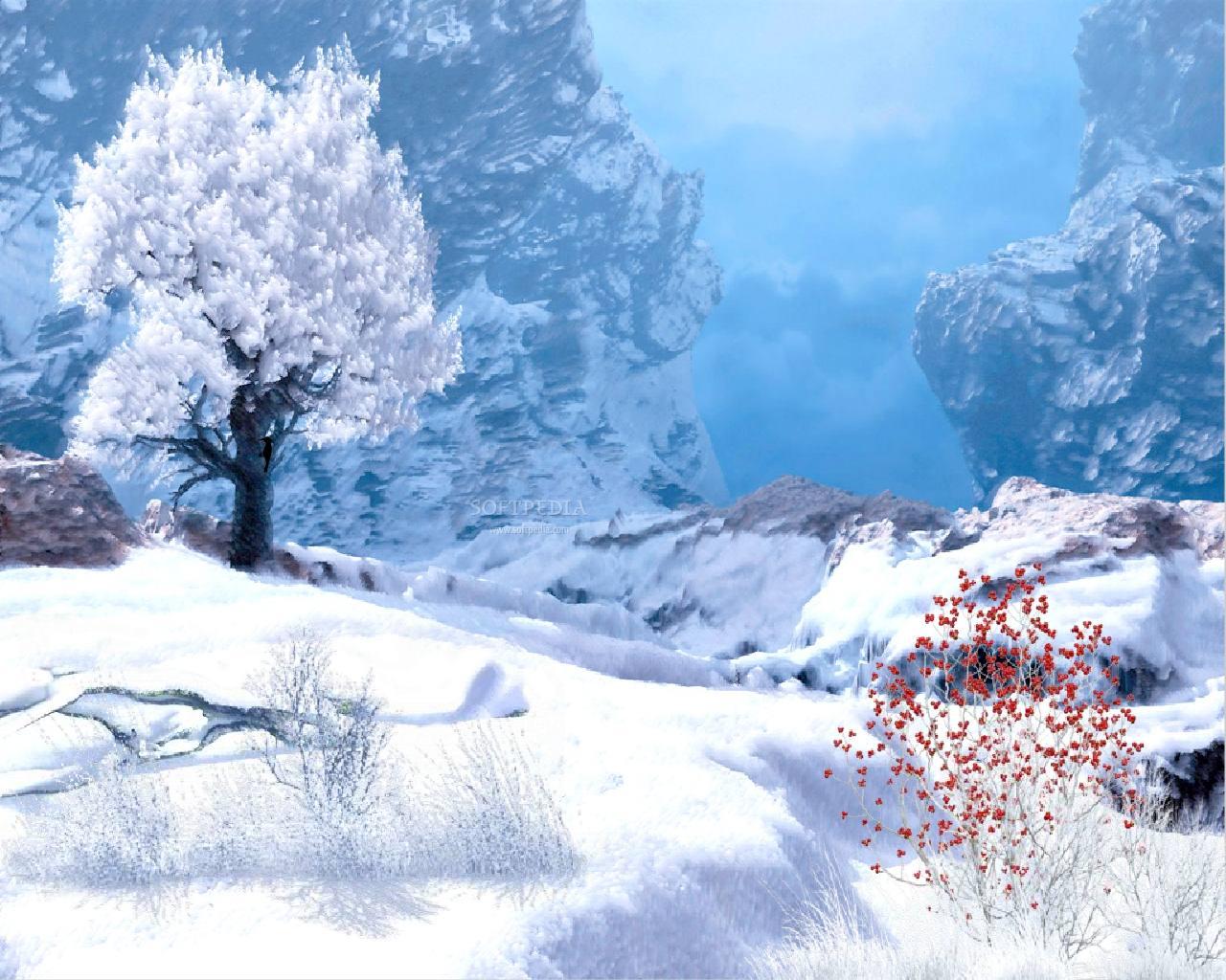 Winter in Mountain Animated Wallpaper Urban Art Wallpaper 1280x1024