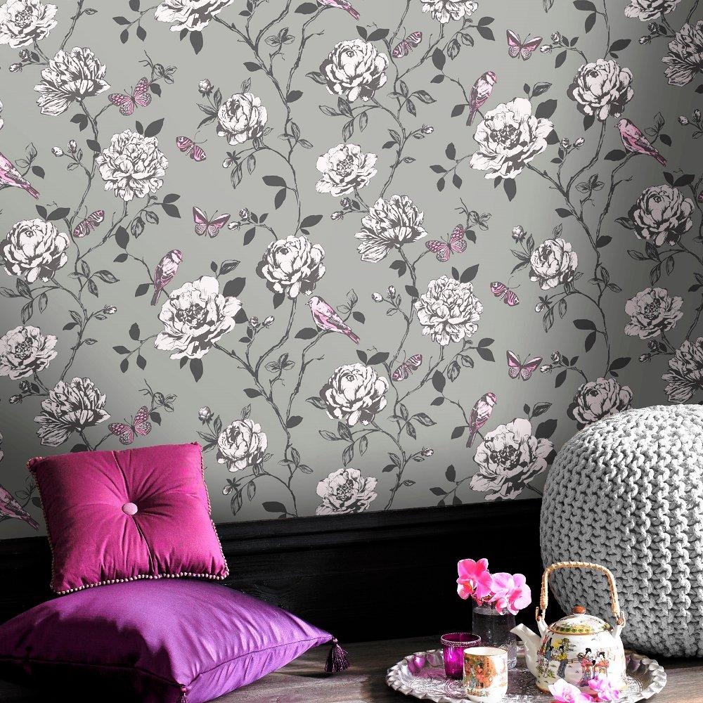 Flower Bird Butterfly Floral Pattern Silver Glitter Wallpaper 204346 1000x1000