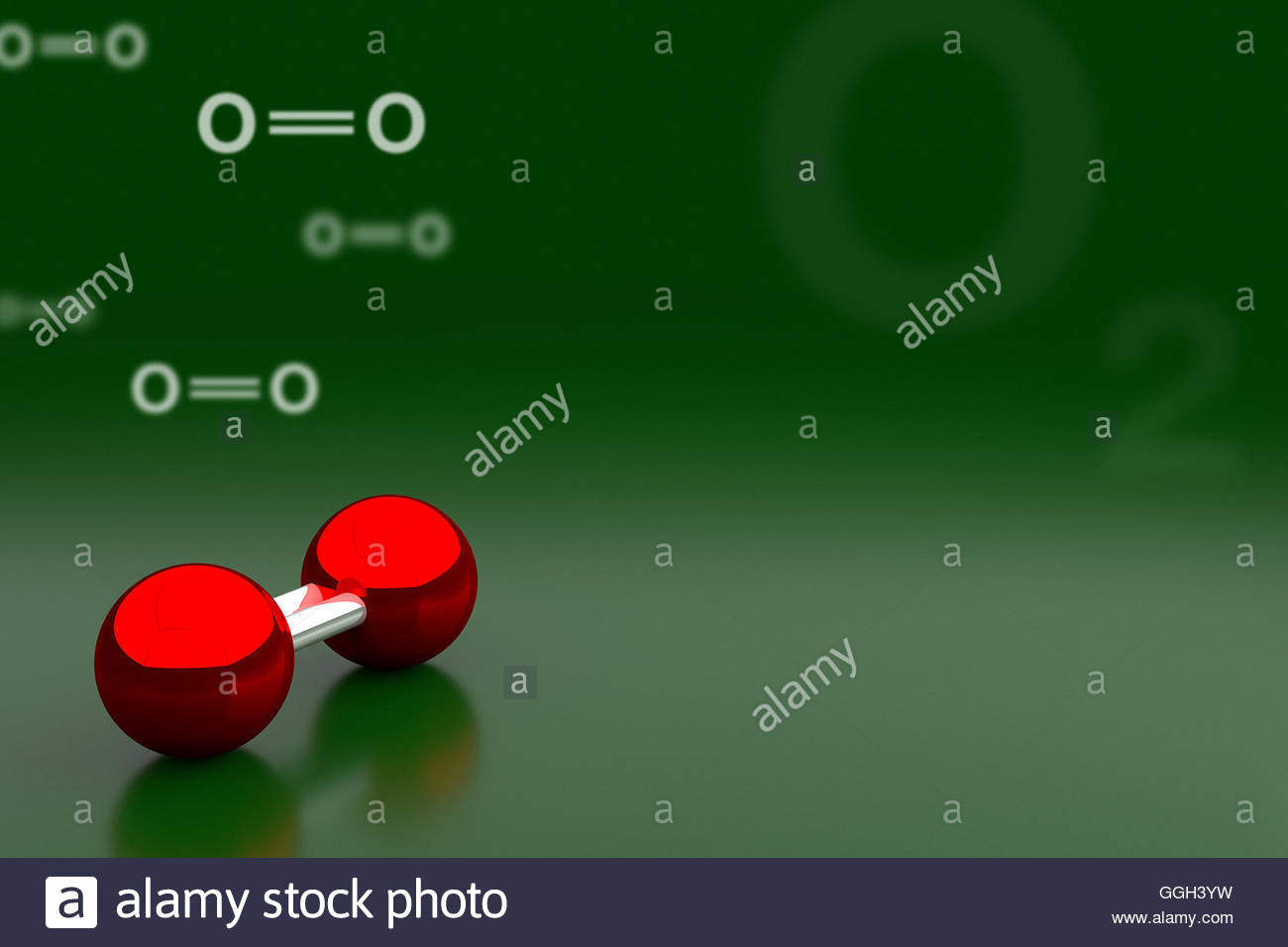 3D rendering of oxygen or O2 molecule background Stock Photo 1300x956