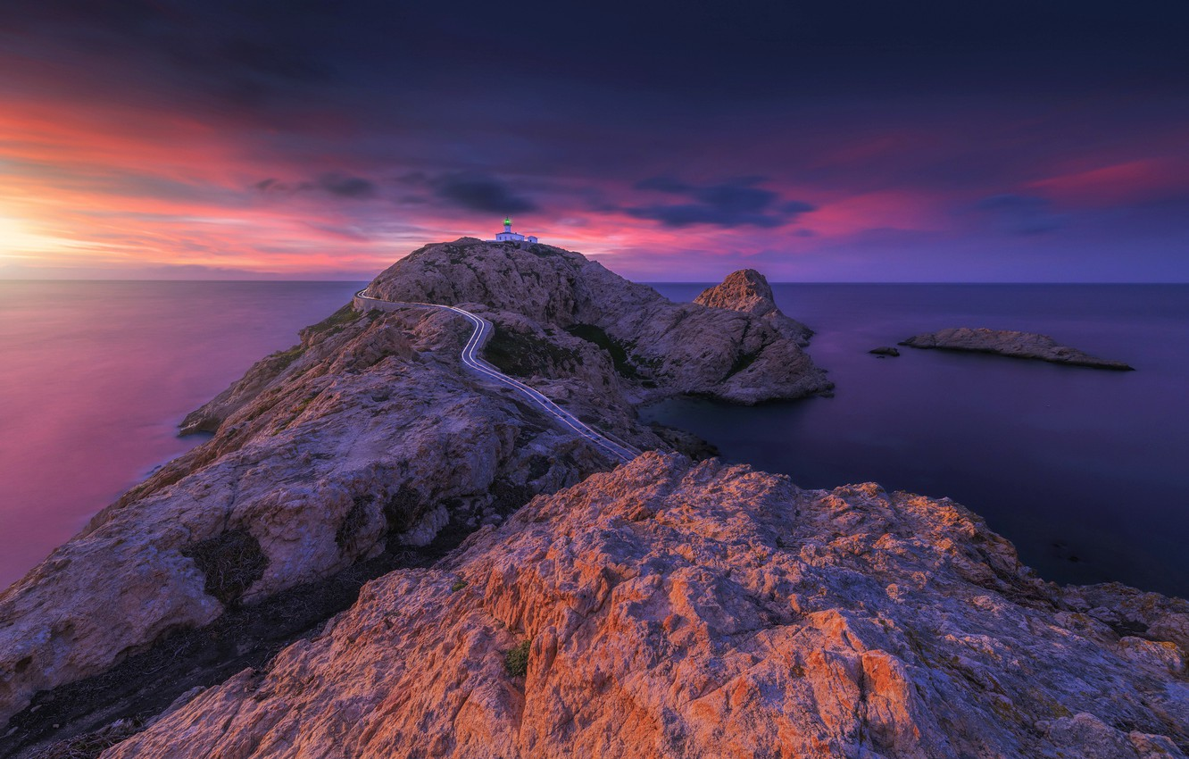 Wallpaper sea sunset lighthouse Corsica The ile Rousse images 1332x850
