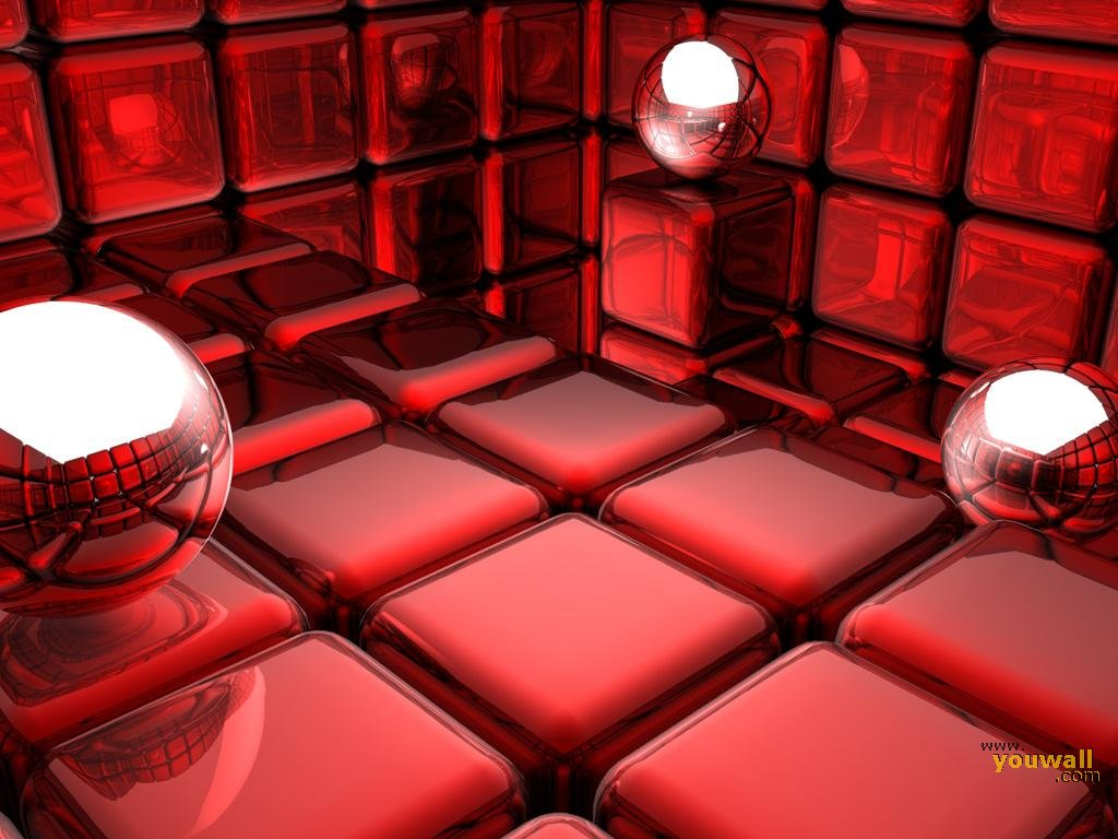 YouWall   Red 3D Cubes Wallpaper   wallpaperwallpapersfree wallpaper 1024x768