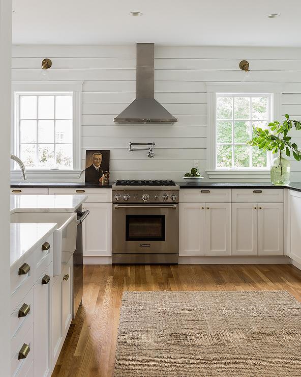 Kitchen with Horizontal Shiplap Backsplash Cottage Kitchen 592x740