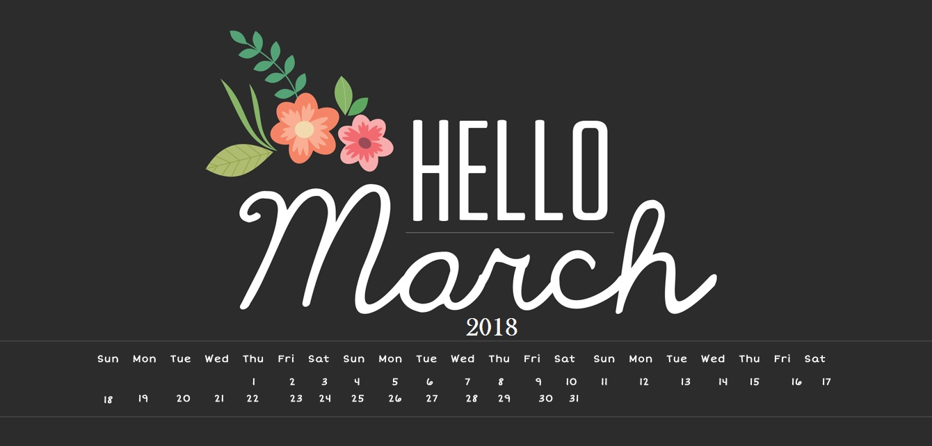 March 2018 Desktop Calendar Calendar 2018 1340x642