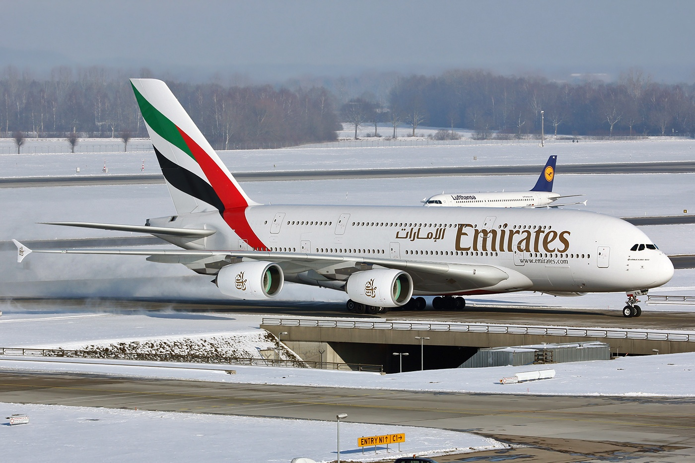 Airbus A380 800 of Emirates Airlines Taxiing Aircraft Wallpaper 1400x933