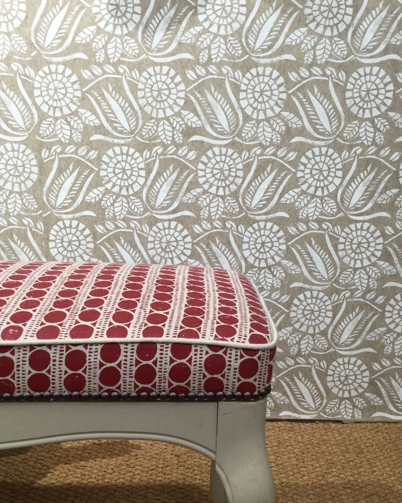 Bloomsbury hand printed Wallpaper in white on a natural 1302x1627