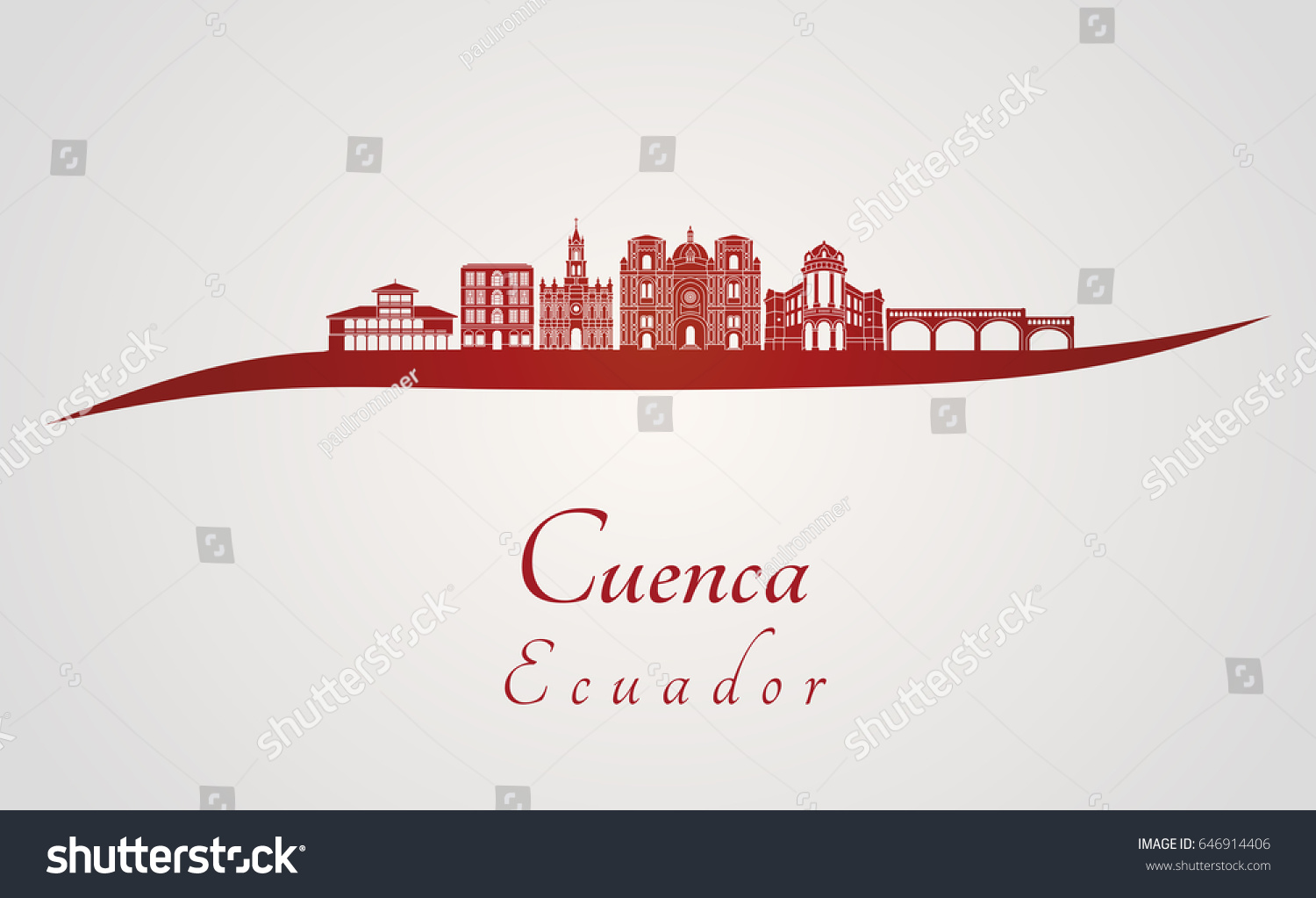 Cuenca Ec Skyline Red Gray Background Stock Vector Royalty 1500x1023