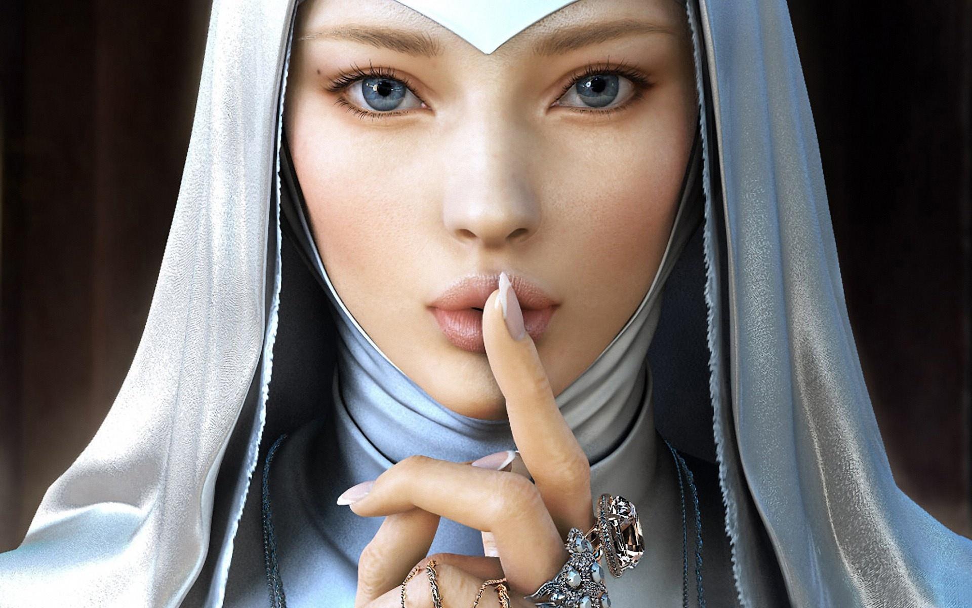 Catholic Fantasy Art Women HD Wallpaper 1920x1200