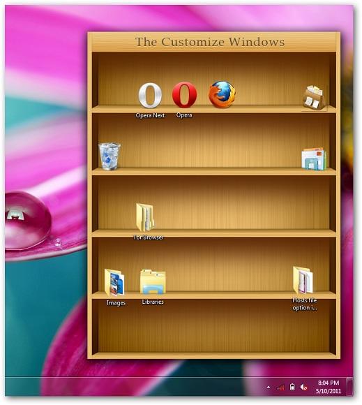 How you use bookshelf like iPad to place icons in Windows 7 desktop 519x580