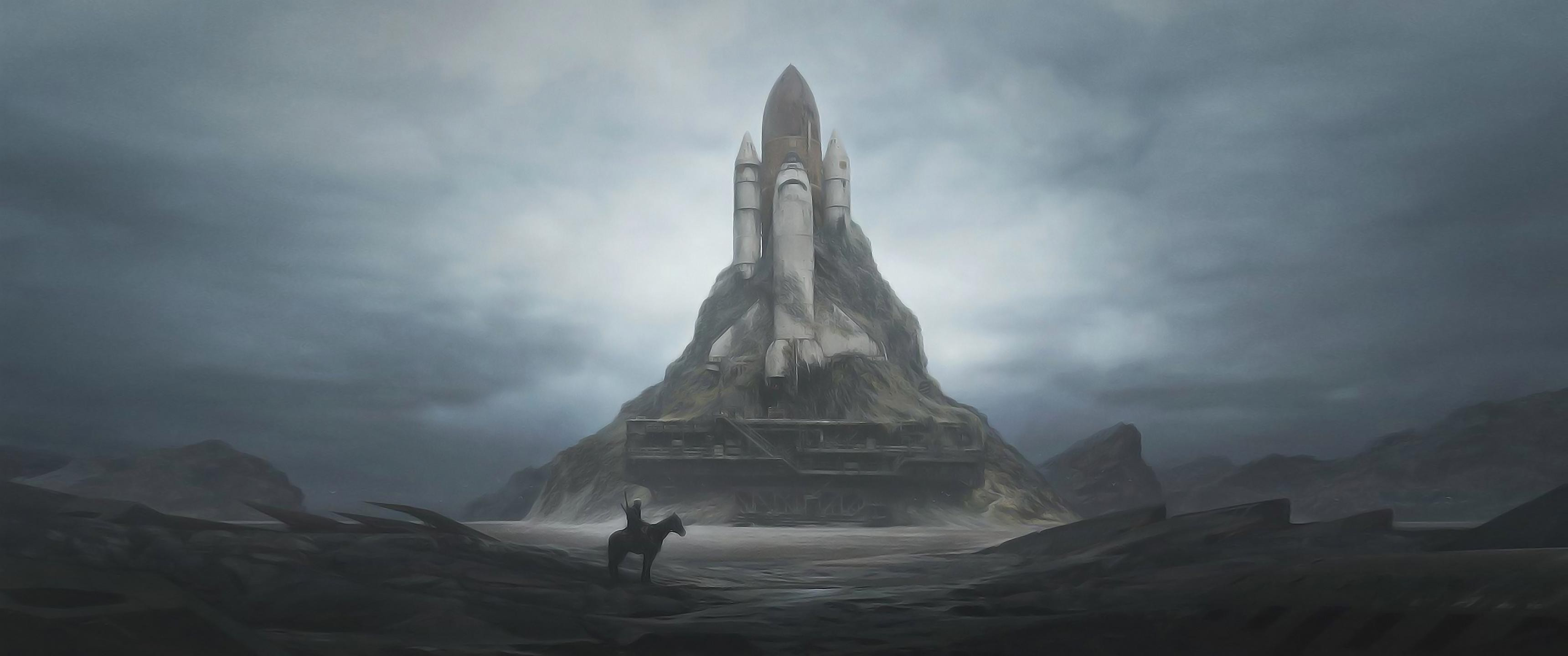 3440x1440 Sci Fi Post Apocalyptic Space Shuttle Landscape HD 3440x1440