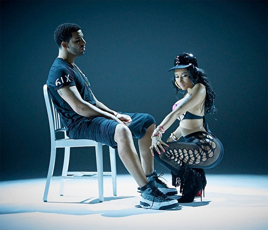 Nicki Minaj Drake On Set Of Anaconda Video Shoot Sports Hip Hop 540x464