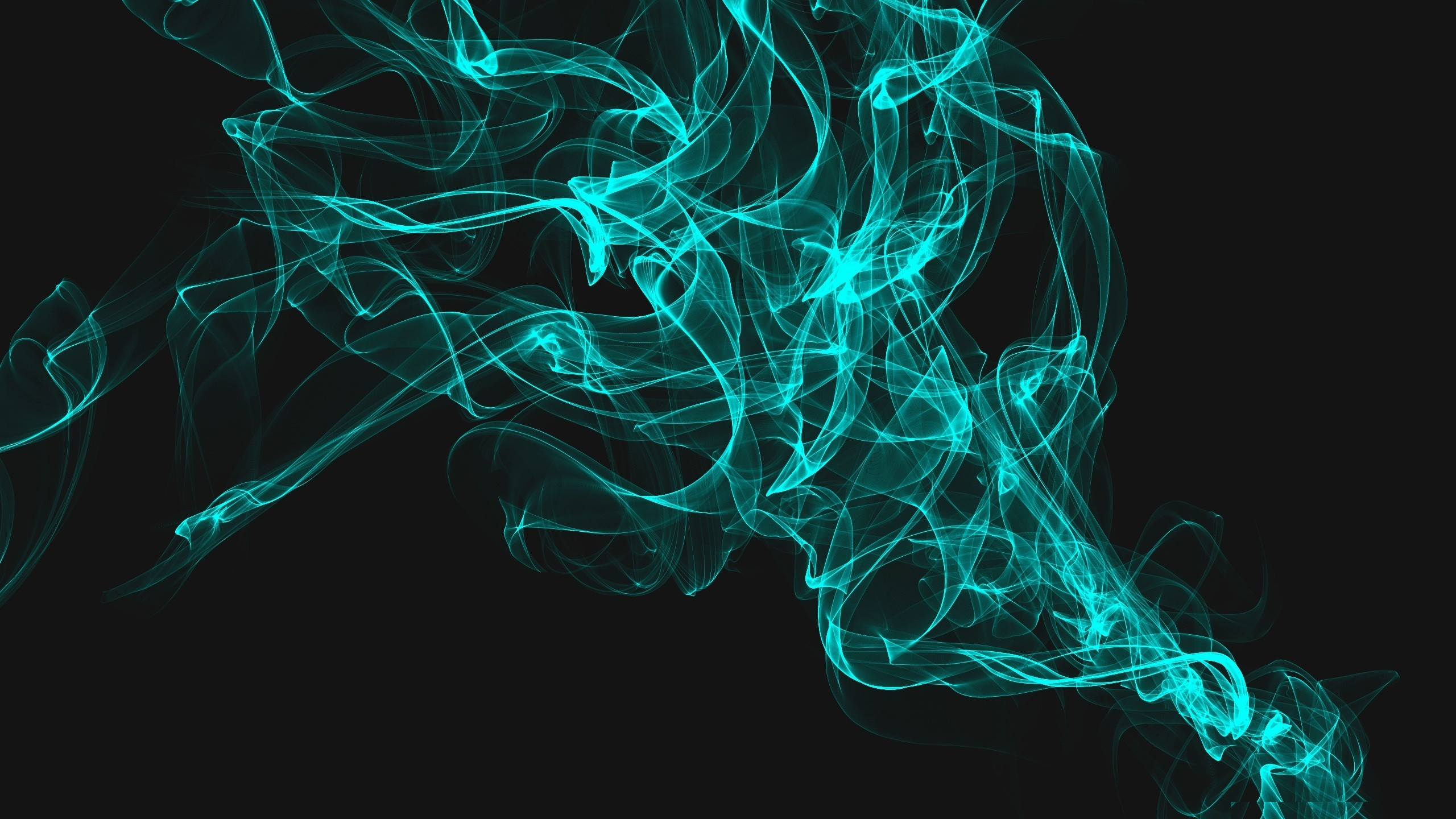 abstract blue dark smoke digital art wallpaper background 2560x1440