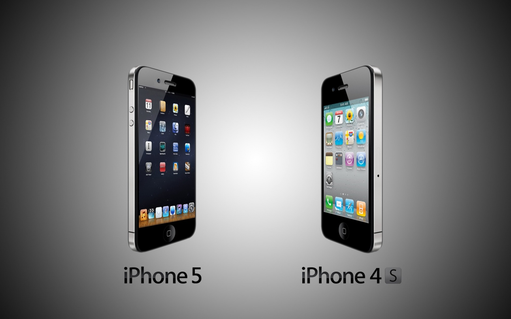 1680x1050 iPhone 5 vs Iphone 4s desktop PC and Mac wallpaper 1680x1050