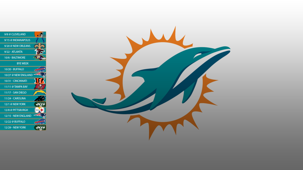 Miami Dolphins 2013 Schedule Wallpaper by SevenwithaT 1024x576