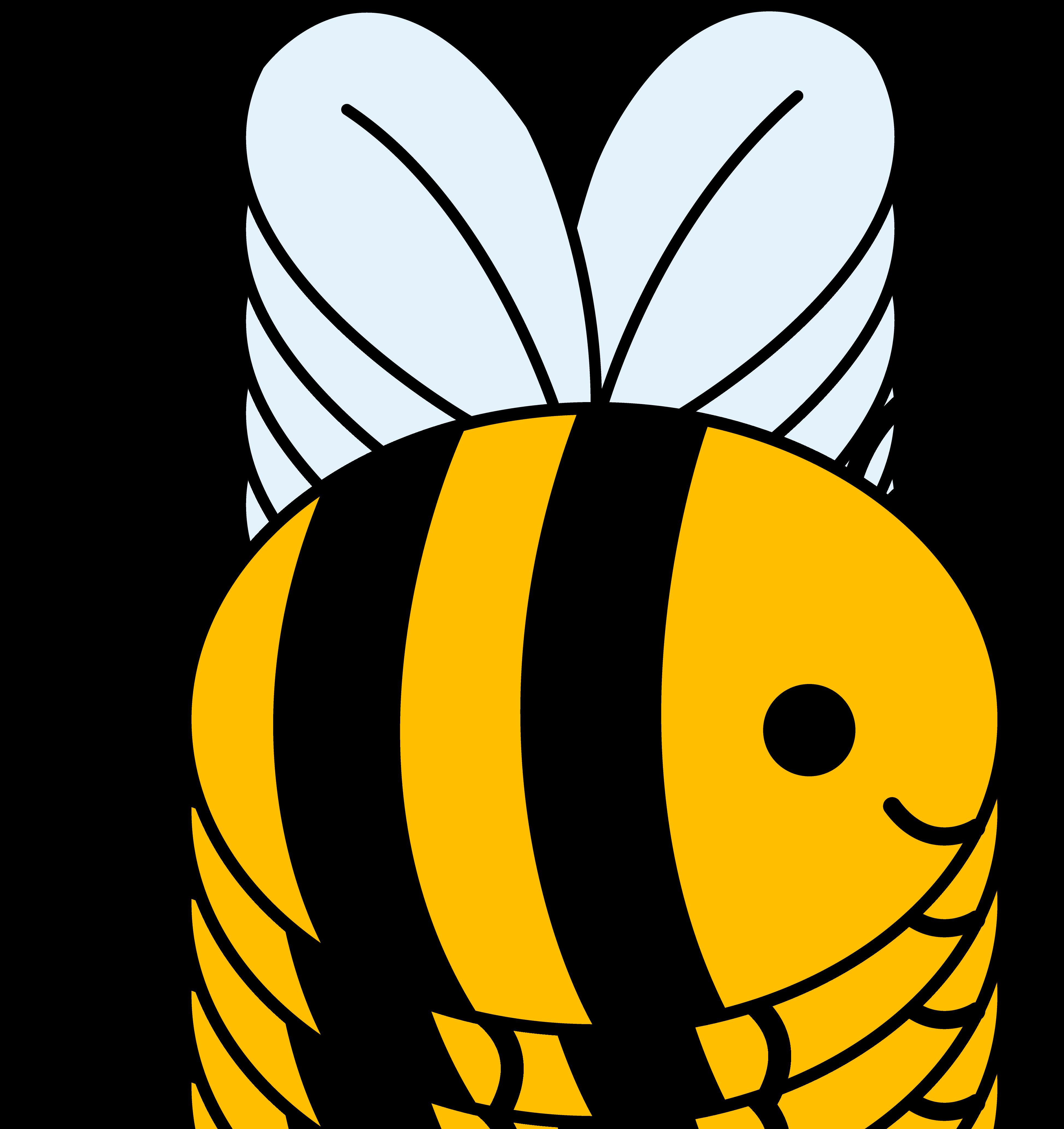 Cute Yellow Bumble Bee   Clip Art 3895x4133