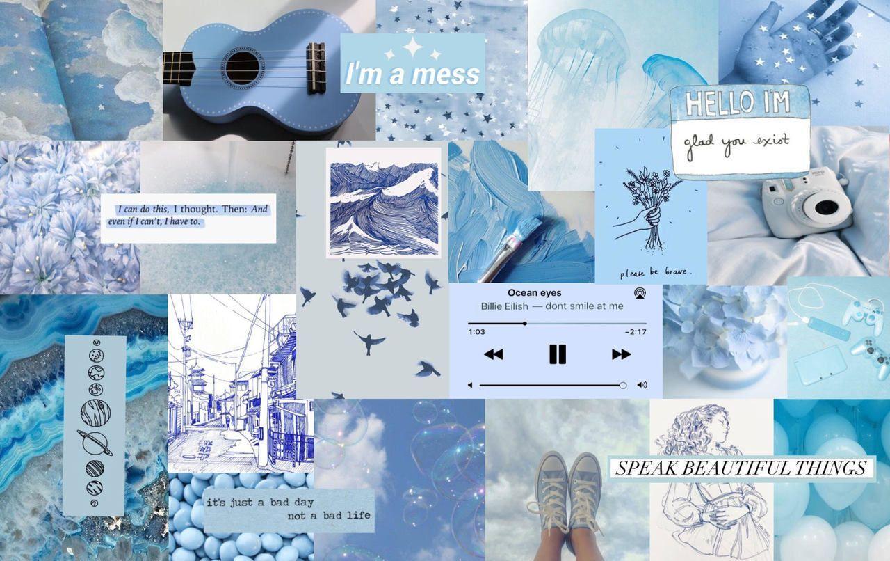 Light Blue Aesthetics Collage Wallpapers on WallpaperDog 1280x806