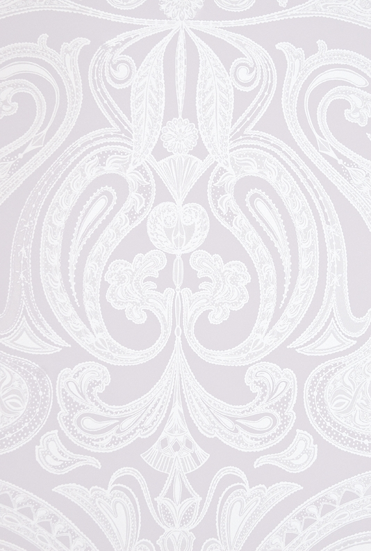Malabar Wallpaper Light Lilac Grey wallpaper with large white Paisley 534x792