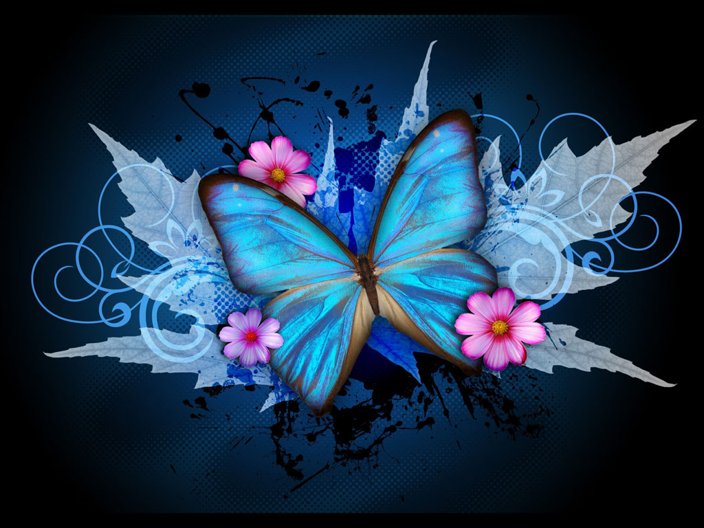wallpapers Blue Butterfly Art Wallpapers 1024x768