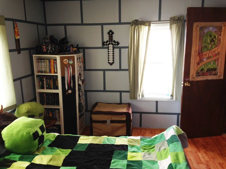 DIY Minecraft Bedroom Shadowbinders Boy Pinterest 736x552