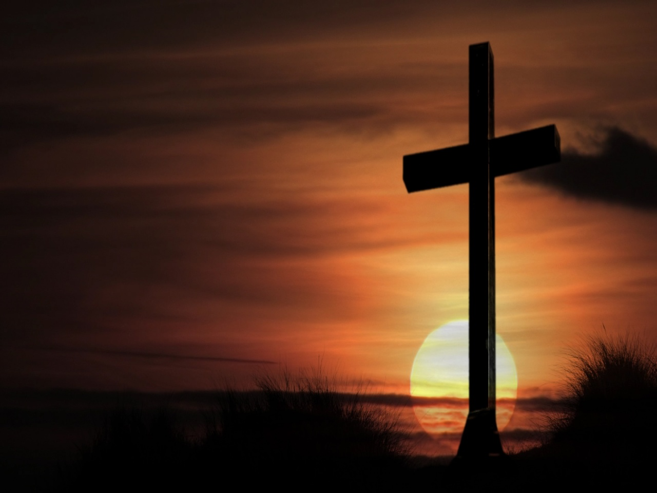 Cross in Sunset Wallpaper   Christian Wallpapers and Backgrounds 1280x960