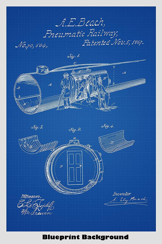 Amazoncom Pneumatic Vacuum Tube Railway Train Poster Patent 1000x1500