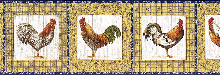 source French Country Rooster Wallpaper Border 770x263
