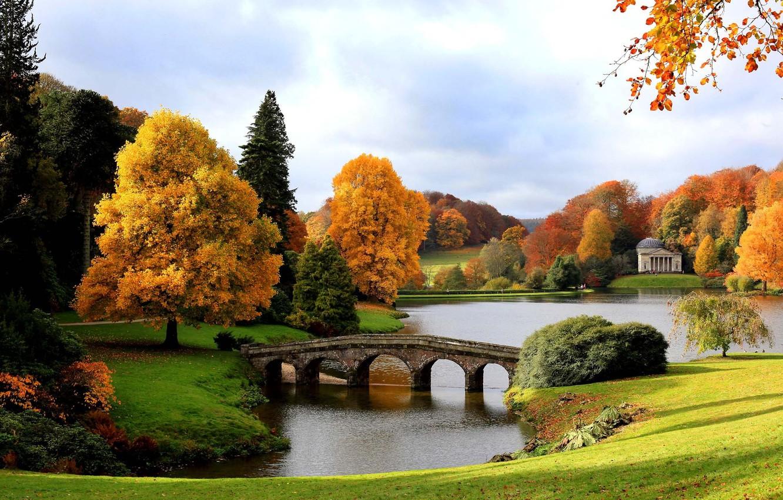 Wallpaper autumn bridge lake England Gold Pantheon The 1332x850