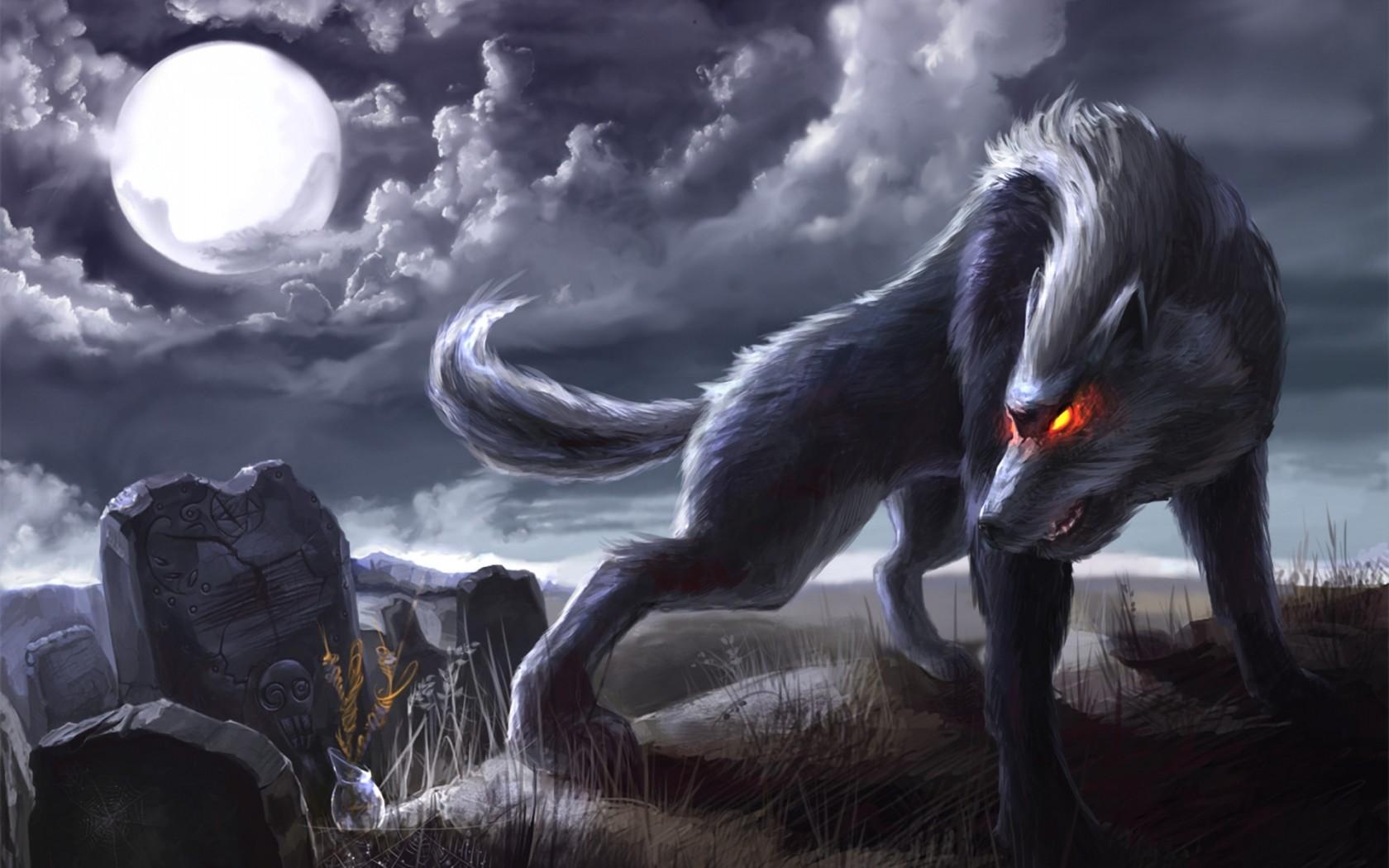 dark Fantasy Art Werewolf Cemetery Greave Tombstone 1680x1050