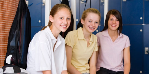 school girls in shower
