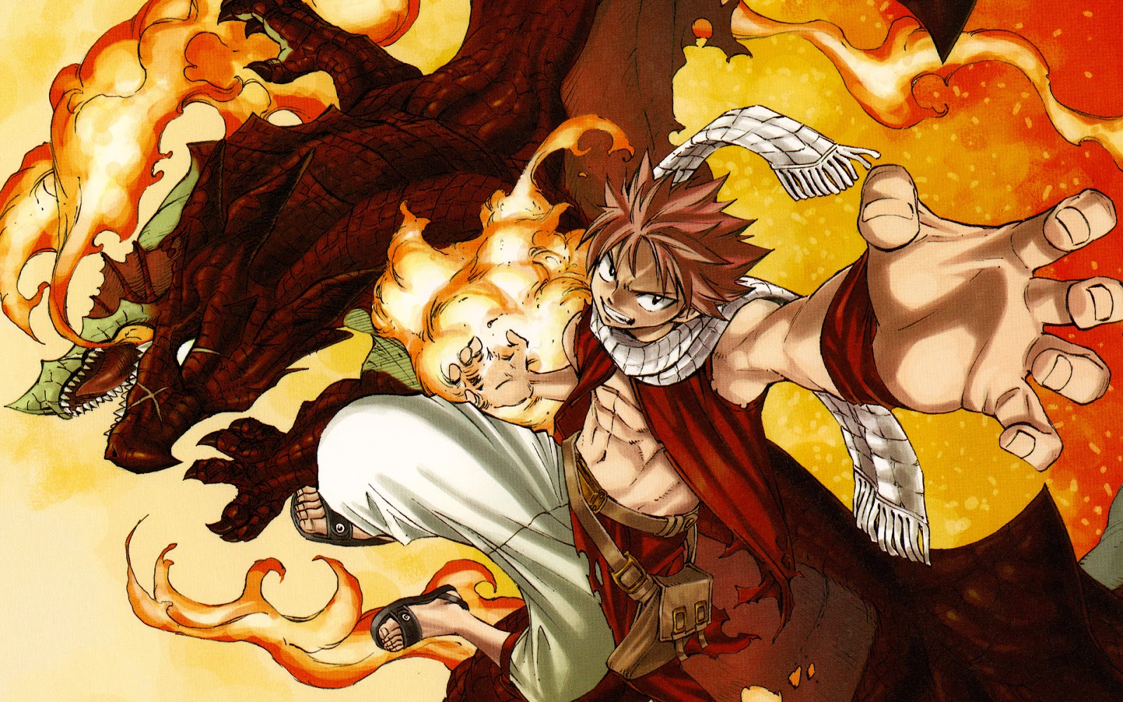natsu dragneel and igneel fire dragon fairy tail anime hd 8d 1600x1000
