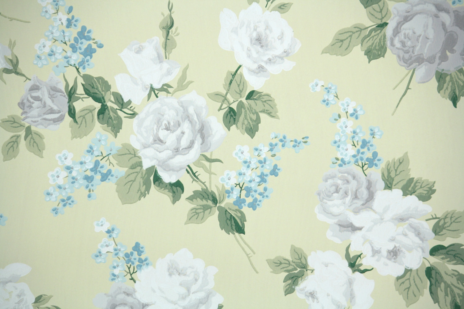 1940s Vintage Wallpaper by the Yard White and by HannahsTreasures 1500x1000