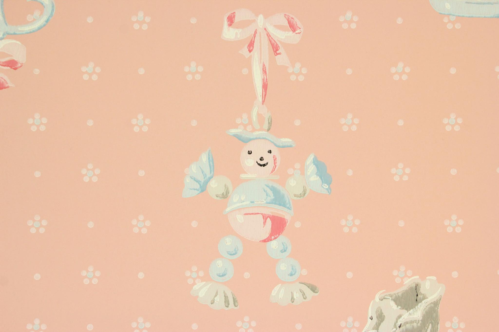 1940s Vintage Wallpaper Pink Nursery Baby Rattle   Rosies Vintage 1280x853